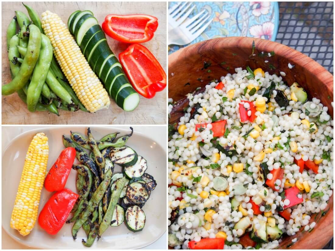 making Israeli couscous with grilled vegetables