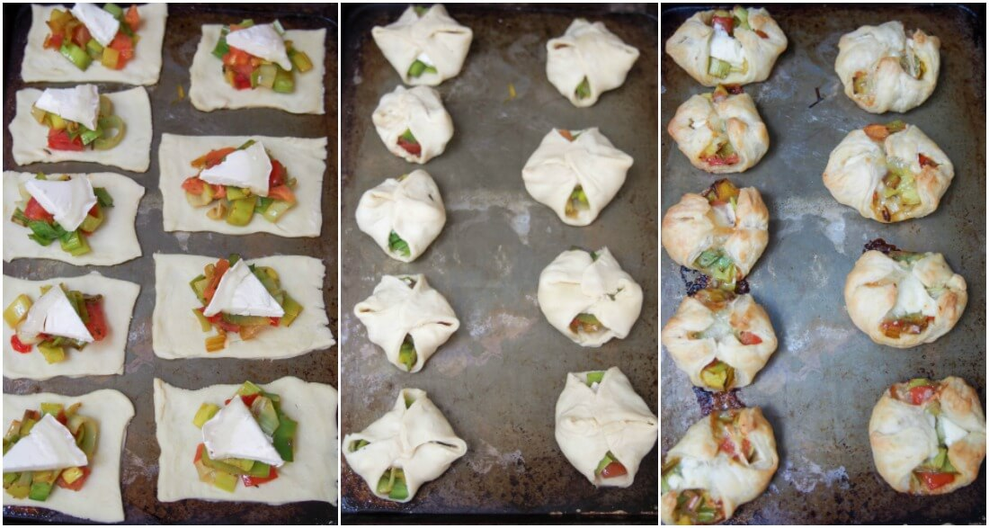 making Leek and goats cheese puff pastry appetizers