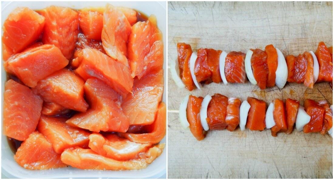 making honey soy salmon skewers