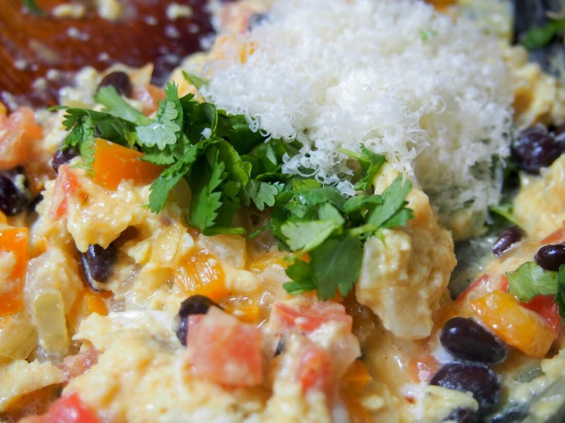 making vegetarian breakfast burrito filling