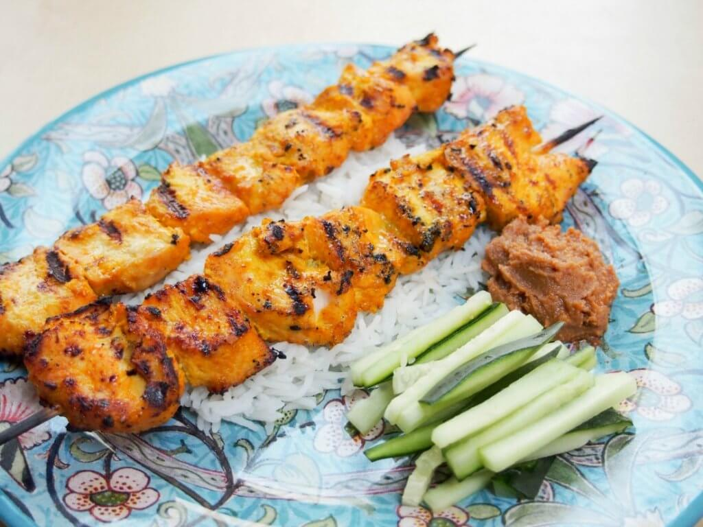 chicken satay with peanut sauce - tasty marinated, grilled chicken with a yummy sauce