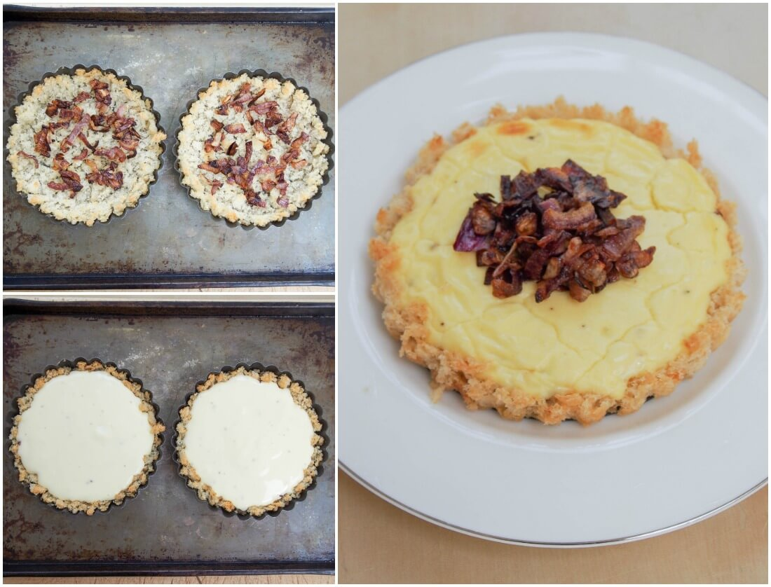 making caramelized onion and goats cheese tartlets