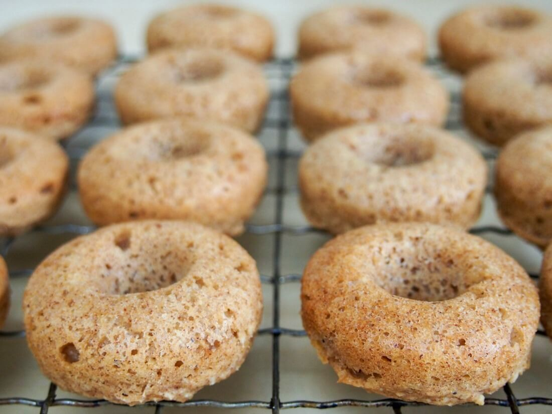 maple apple donuts before glaze
