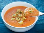 roasted tomato soup with basil-butter croutons