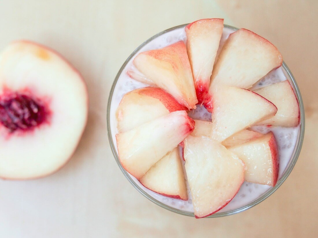 coconut chia pudding with white peach
