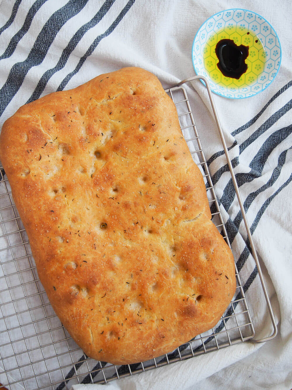 lemon thyme focaccia whole loaf