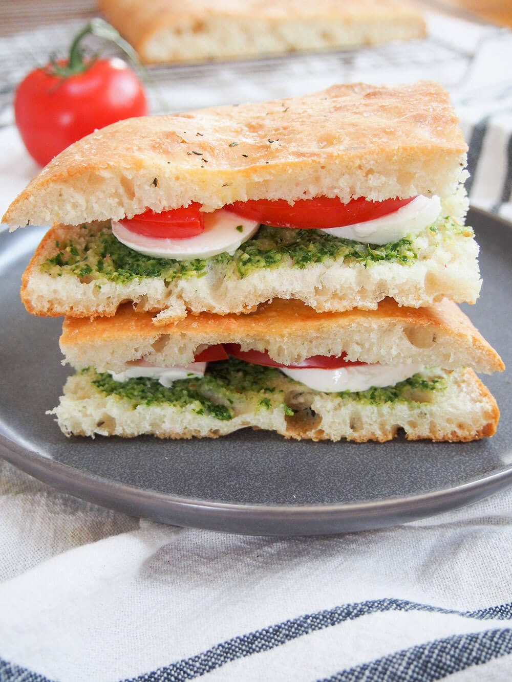 lemon thyme focaccia as sandwich