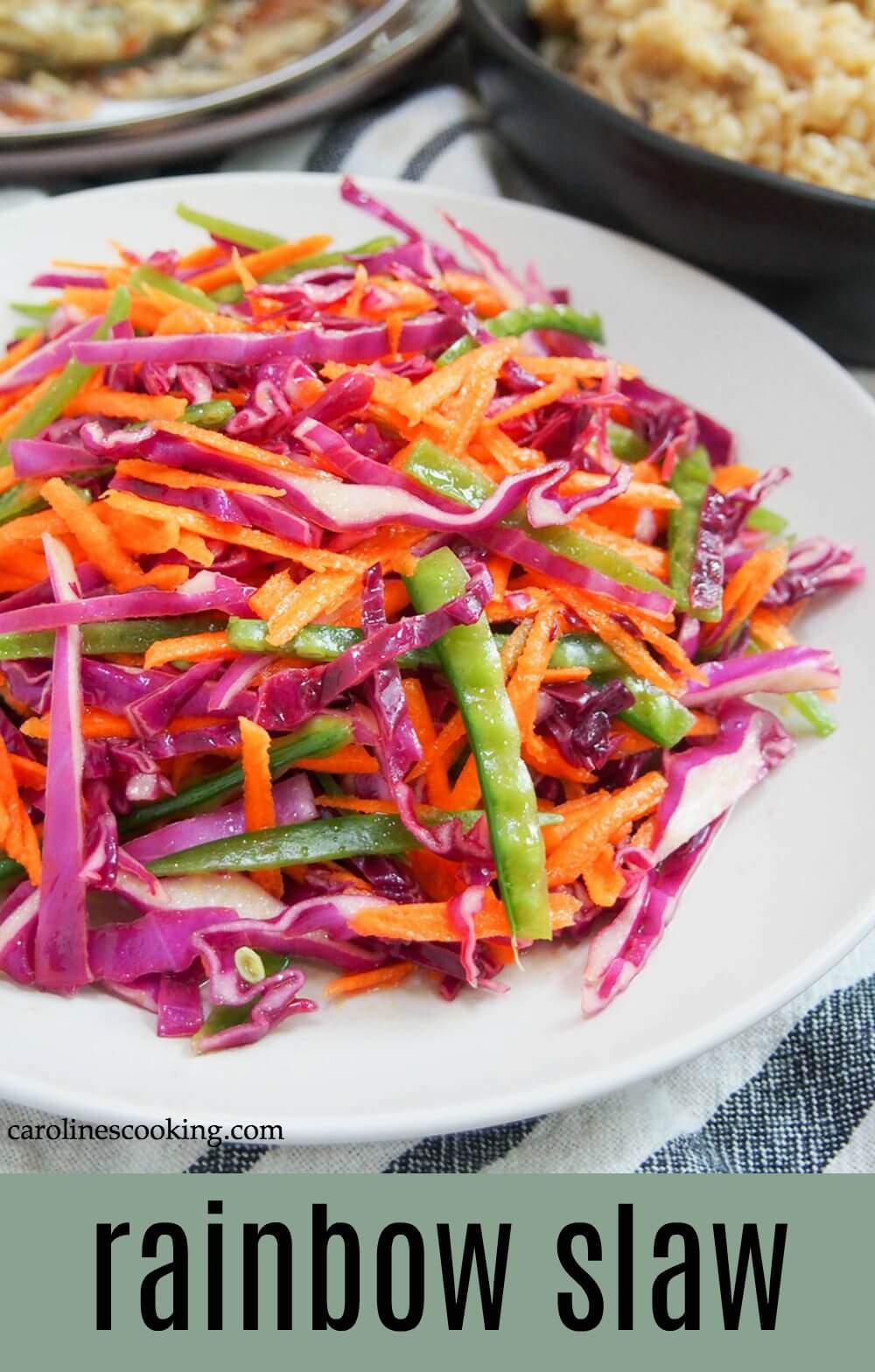 This colorful rainbow slaw is made with red cabbage, carrot and snow peas and a simple sharp-sweet dressing. There's no mayo, just plenty flavor and crunch! An easy, tasty and versatile side. #slaw #nomayoslaw #sidedish #vegan
