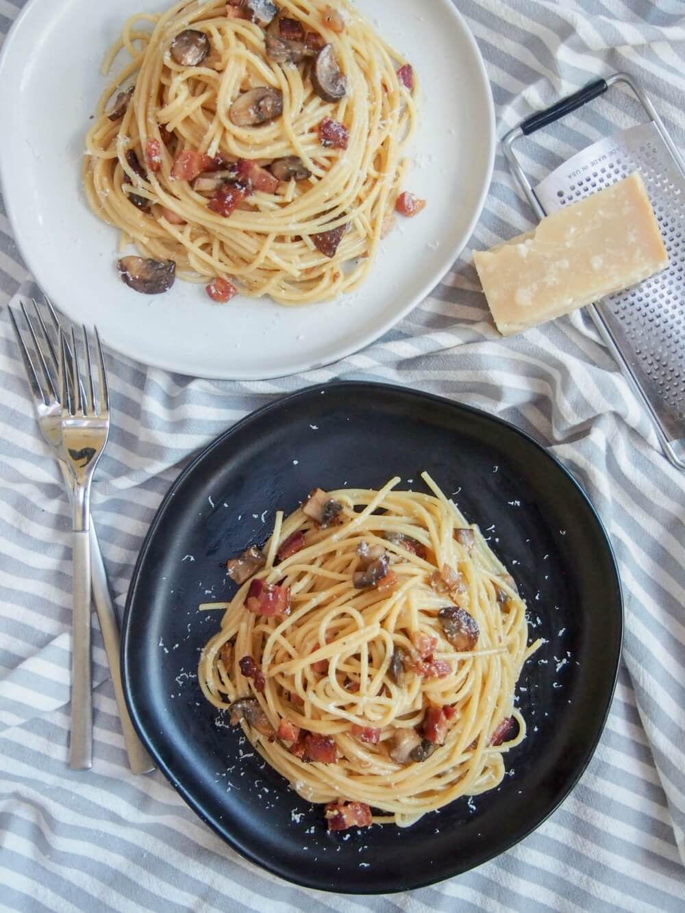 Spaghetti alla carbonara with mushrooms