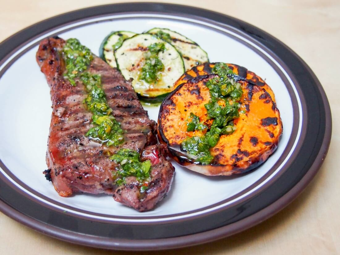 grilled butternut squash, zucchini & steak with chimichurri sauce