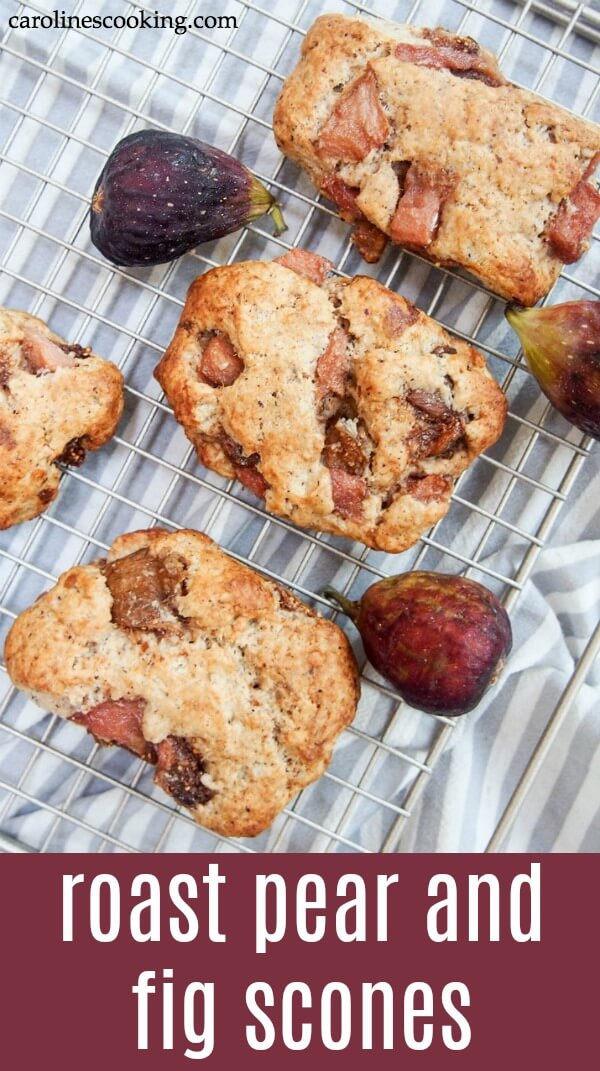 Delicious juicy chunks of fruit wrapped in a gently nutty dough, you'll hardly believe these roast pear and fig scones are pretty healthy too. #scones #fruitscones