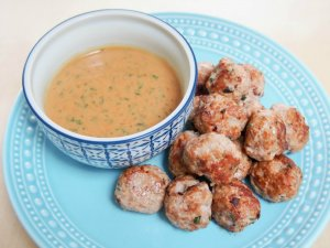 Thai basil pork meatballs with peanut-basil sauce