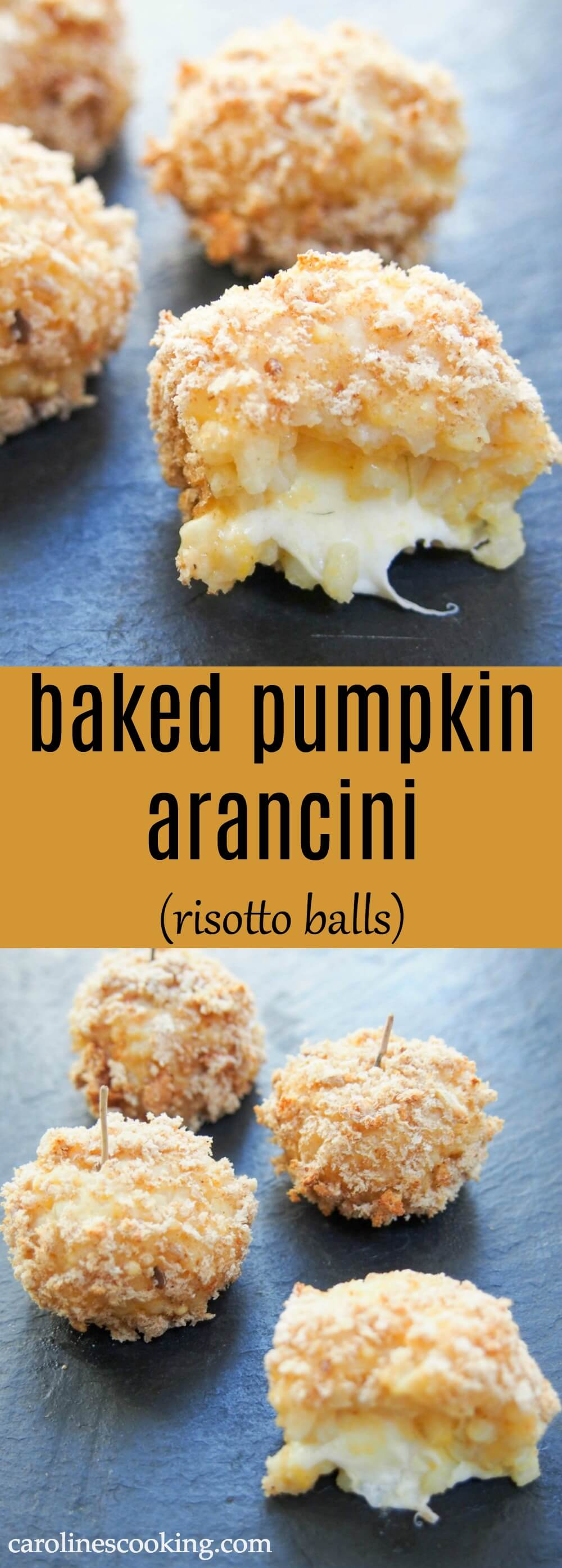 These baked pumpkin arancini are so flavorful and comforting with a gooey cheese center. A great appetizer or snack perfect for a festive party, game day and more.
