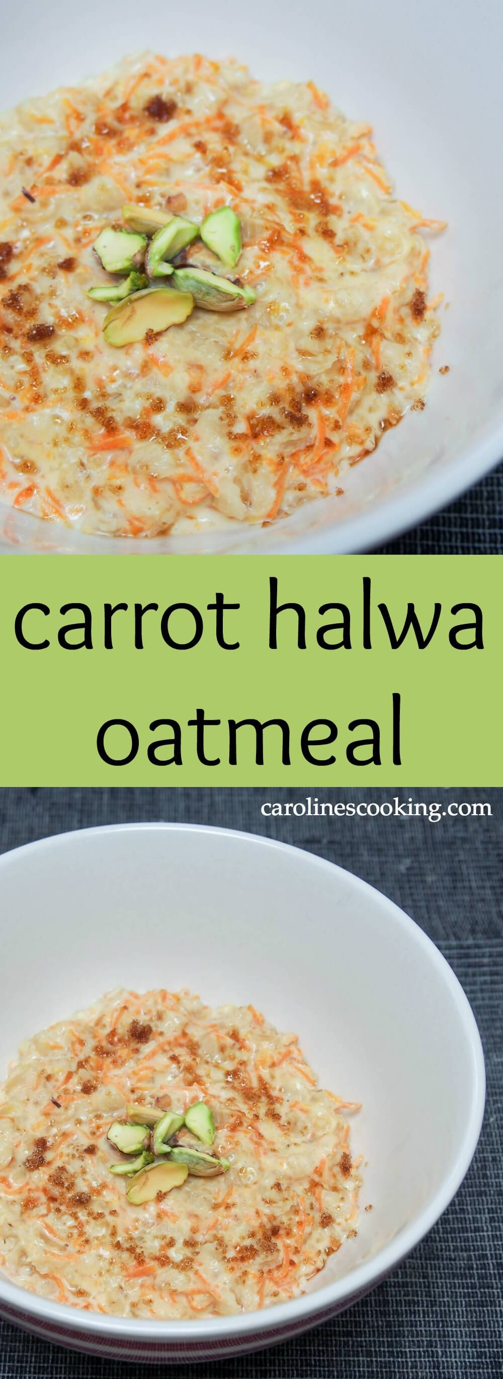 This carrot halwa oatmeal combines a traditional Indian dessert with stovetop oatmeal to make a delicious, hearty breakfast that's also good for you.