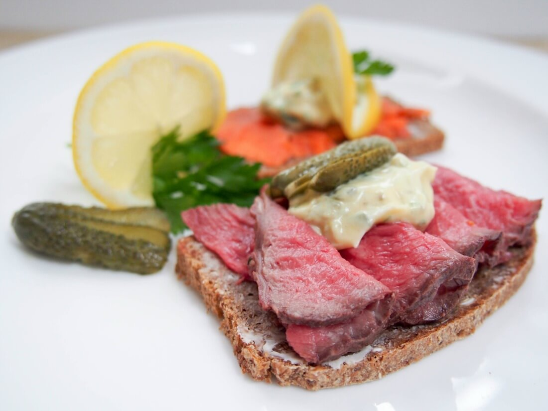 Danish smørrebrød (open sandwiches) with remoulade