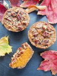 Healthier mini sweet potato pecan pies- With no refined sugar, wholewheat flour and hardly any butter, these mini sweet potato pecan pies are a lot healthier than most but still oh so delicious.
