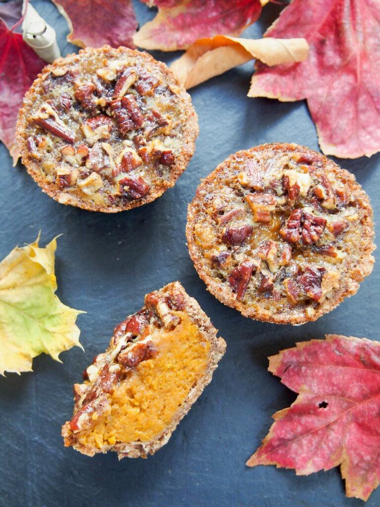 Healthier mini sweet potato pecan pie- With no refined sugar, wholewheat flour and hardly any butter, these mini sweet potato pecan pies are a lot healthier than most but still oh so delicious.