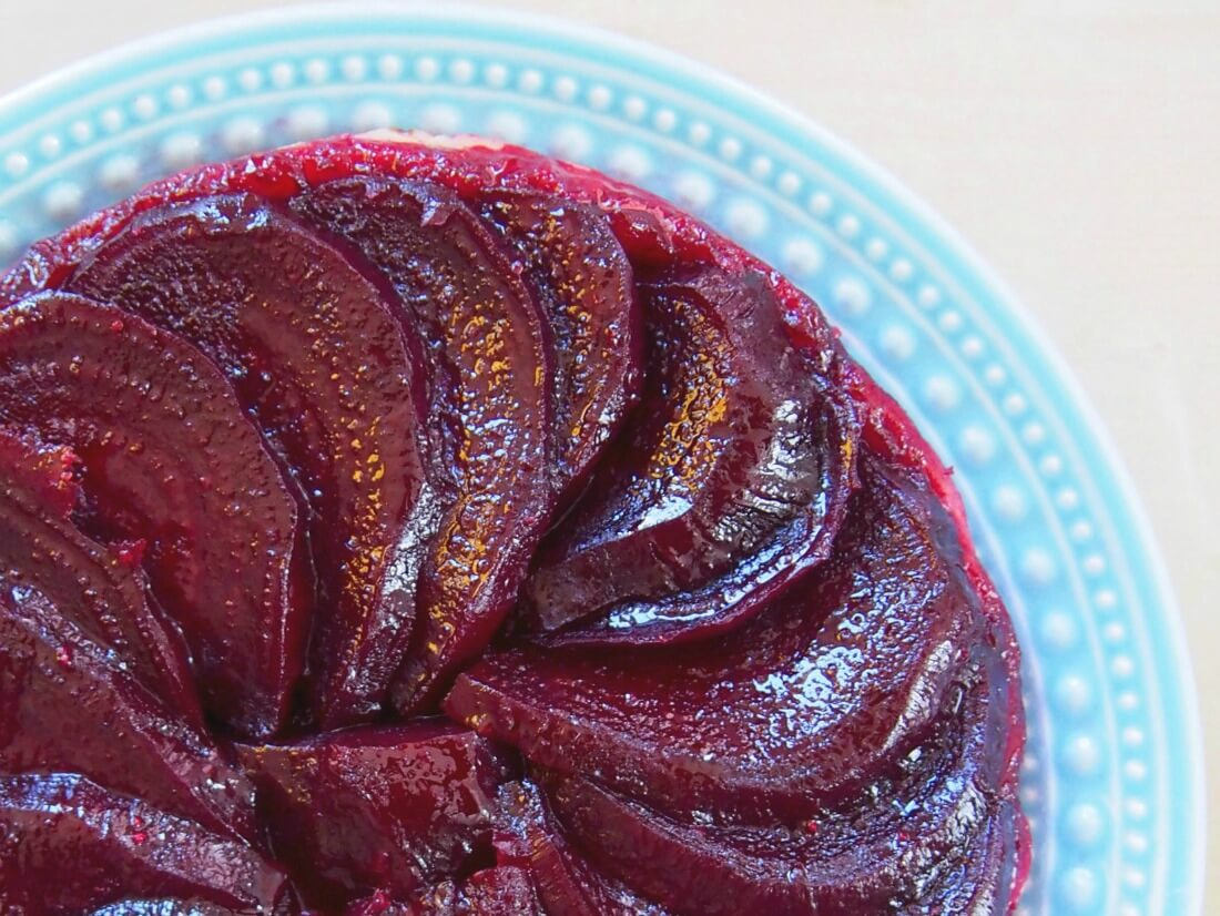 corner of beetroot tarte tatin