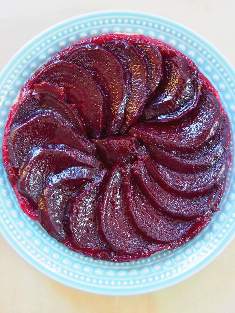 Beetroot tarte tatin makes an easy, tasty lunch or light meal. With a little goats cheese, the flavors are delicate & delicious, all wrapped in crisp pastry