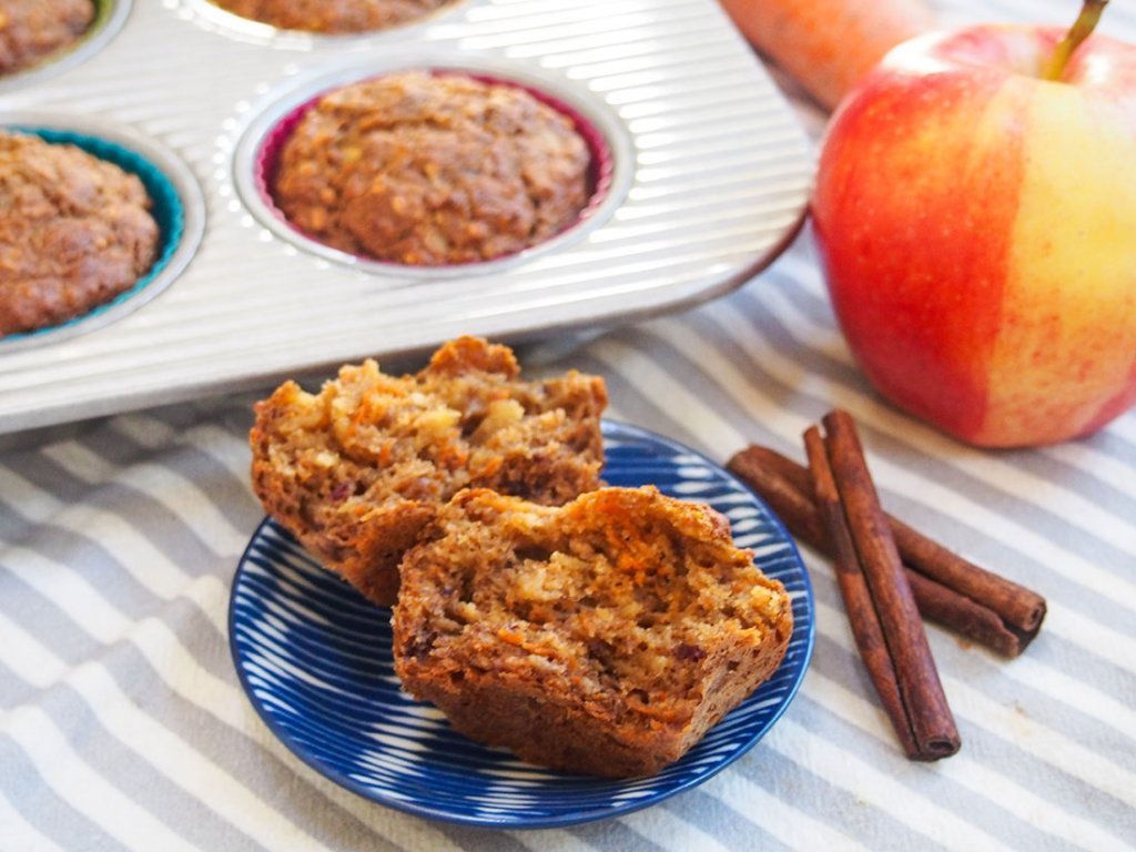 Healthy carrot apple muffins with one split in front