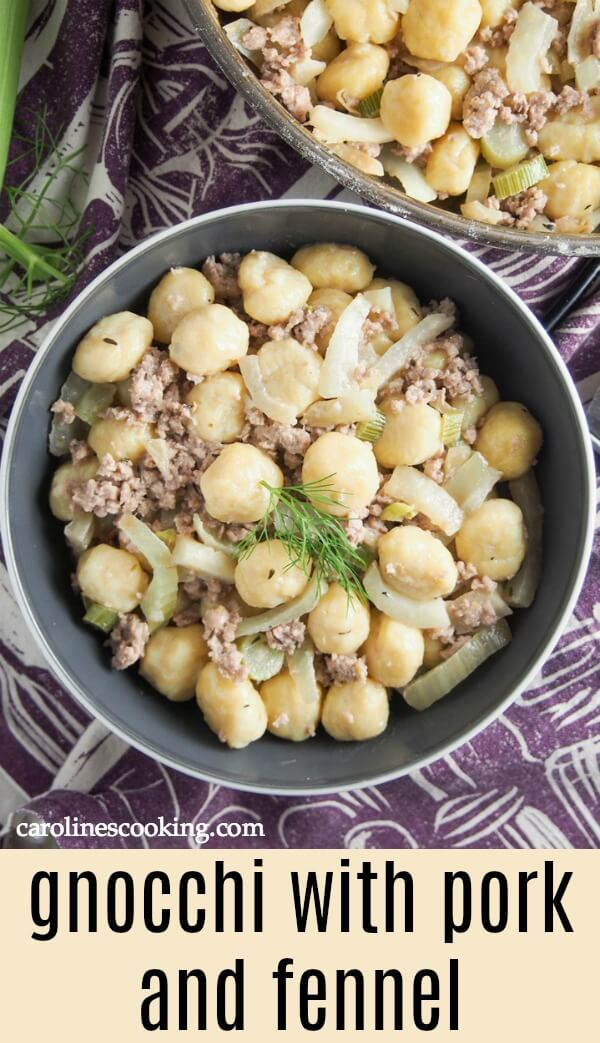 This gnocchi with pork and fennel is a delicious combination of flavors that's hearty and comforting. Easy and quick to put together, a great any-day meal. #gnocchi #sauceforgnocchi #groundpork