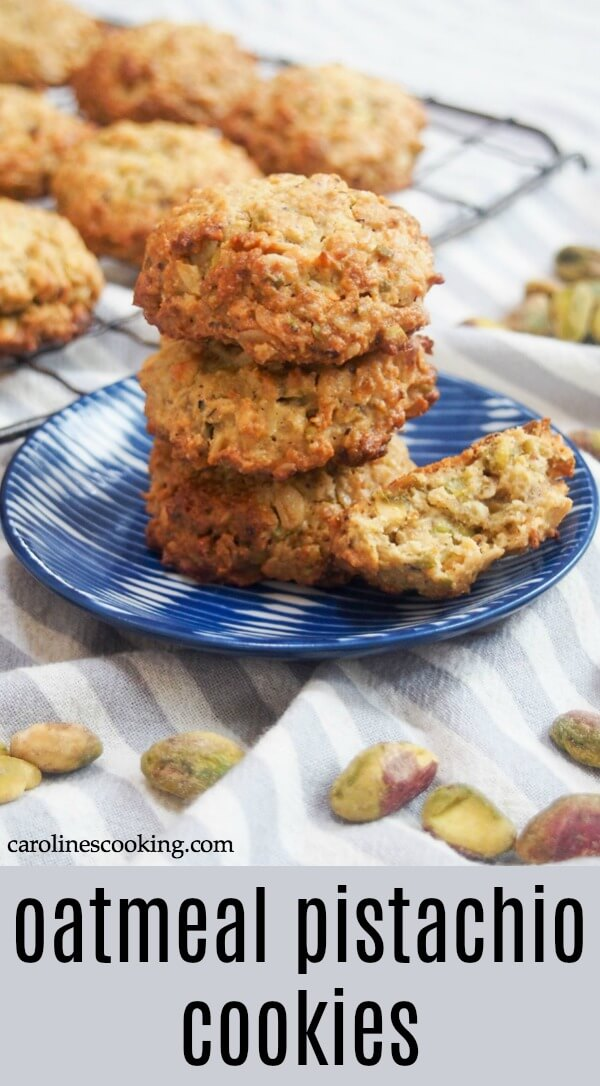 These oatmeal pistachio cookies are quick & easy to make, relatively healthy and with a gently chewy crunch. Gluten free, dairy free & no refined sugar. So you have every excuse to make some more! #cookie #glutenfreecookie #pistachiocookie #healthiercookie
