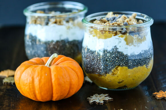 pumpkin pie chia parfaits