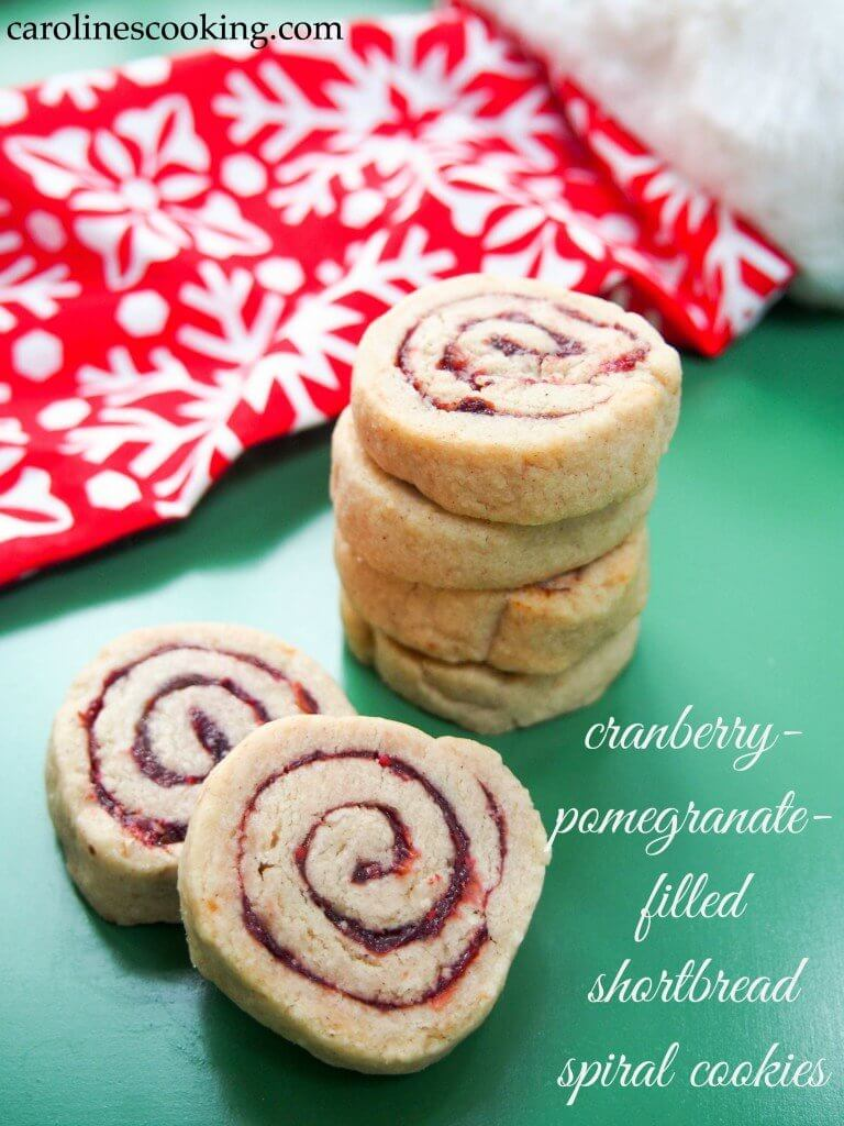 These cranberry-pomegranate-filled shortbread spiral cookies are a twist on classic shortbread, both pretty and delicious. Easy to make with a tasty tang.