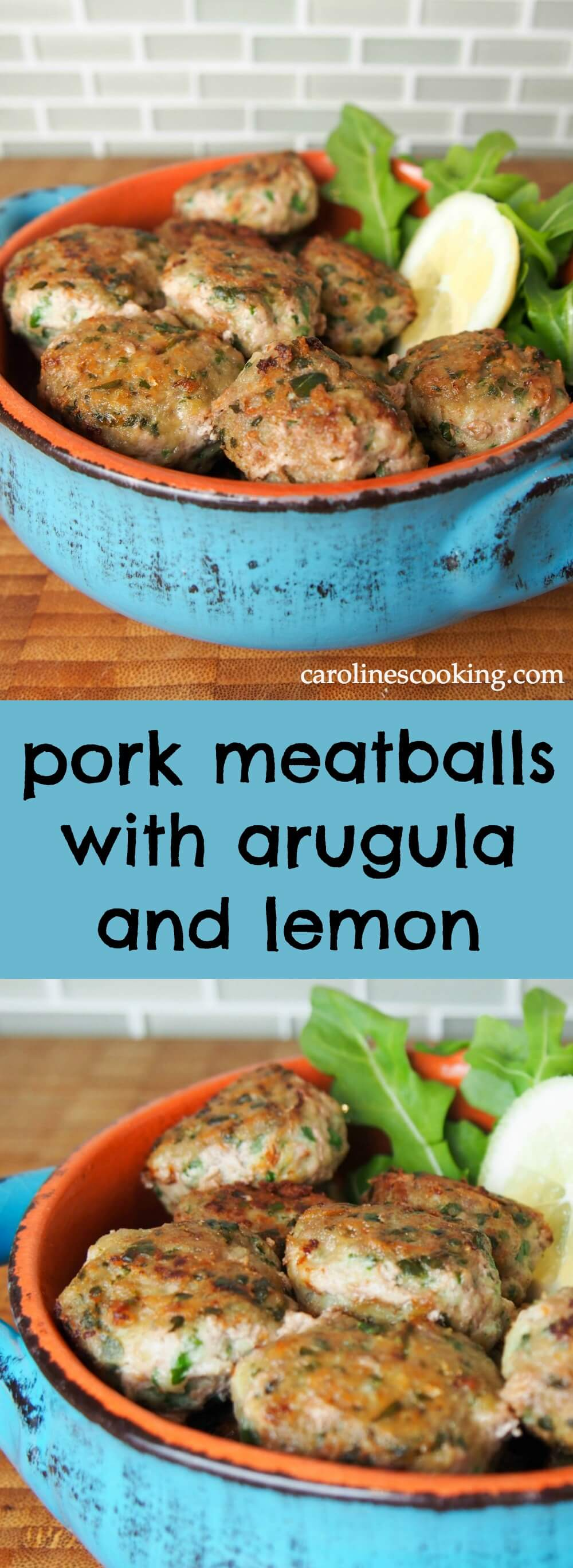 These pork meatballs are made with arugula, lemon and parmesan, giving them a delicious freshness. Quick and easy to make, they're great as an appetizer or main.