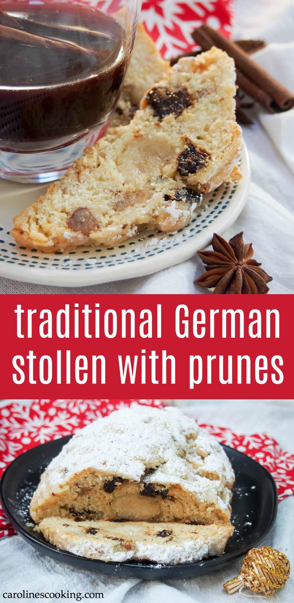Stollen is Germany's Christmas cake and this version is made with prunes, lemon zest & cardamon. It's wonderfully aromatic, moist & delicious - the perfect seasonal treat. Bonus, it's easy to make. #stollen #german #christmas #baking
