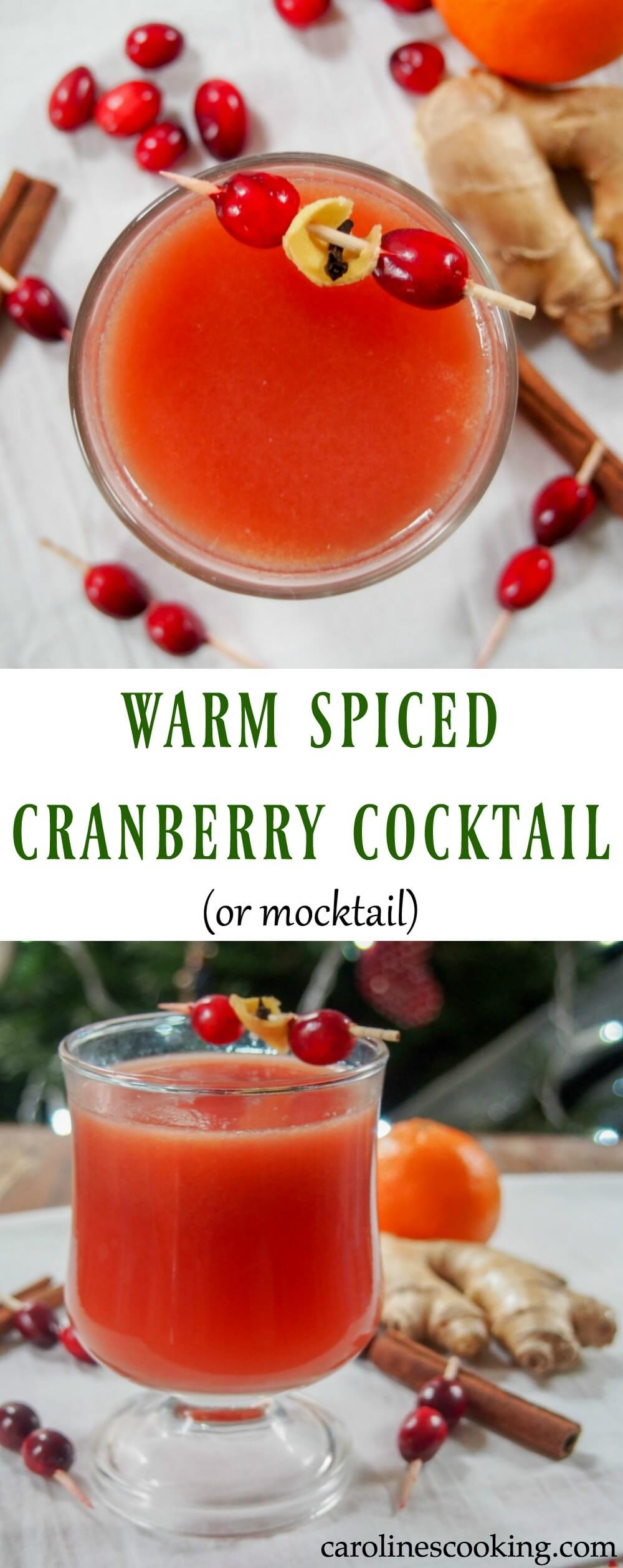 This warm spiced cranberry cocktail is easy to make but so tasty, with or without alcohol. A perfect way to get in the festive spirit and warm you through. #cocktail #cranberry