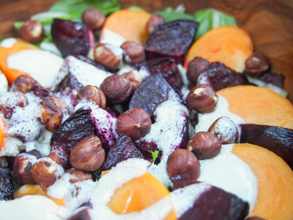 Winter beet salad with goat's cheese dressing #SundaySupper