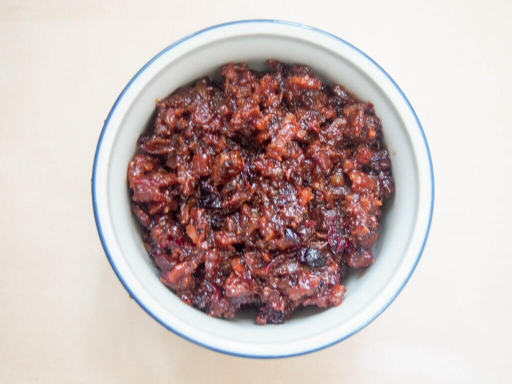 cranberry bacon jam for scallops with bacon jam