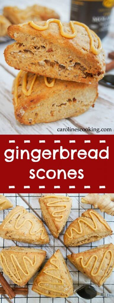 These gingerbread scones are moist and have a delicious spice to them. They are also relatively healthy so you can feel good about having another! #gingerbread #scone