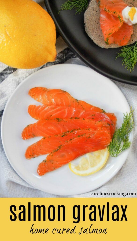 Salmon gravlax tastes similar to smoked salmon, but without the pricetag. Easy to make, all you need is a little planning, then enjoy the delicate, lightly herbed flavor of this home-cured salmon. Great as an appetizer and more. #salmon #gravlax #homecured