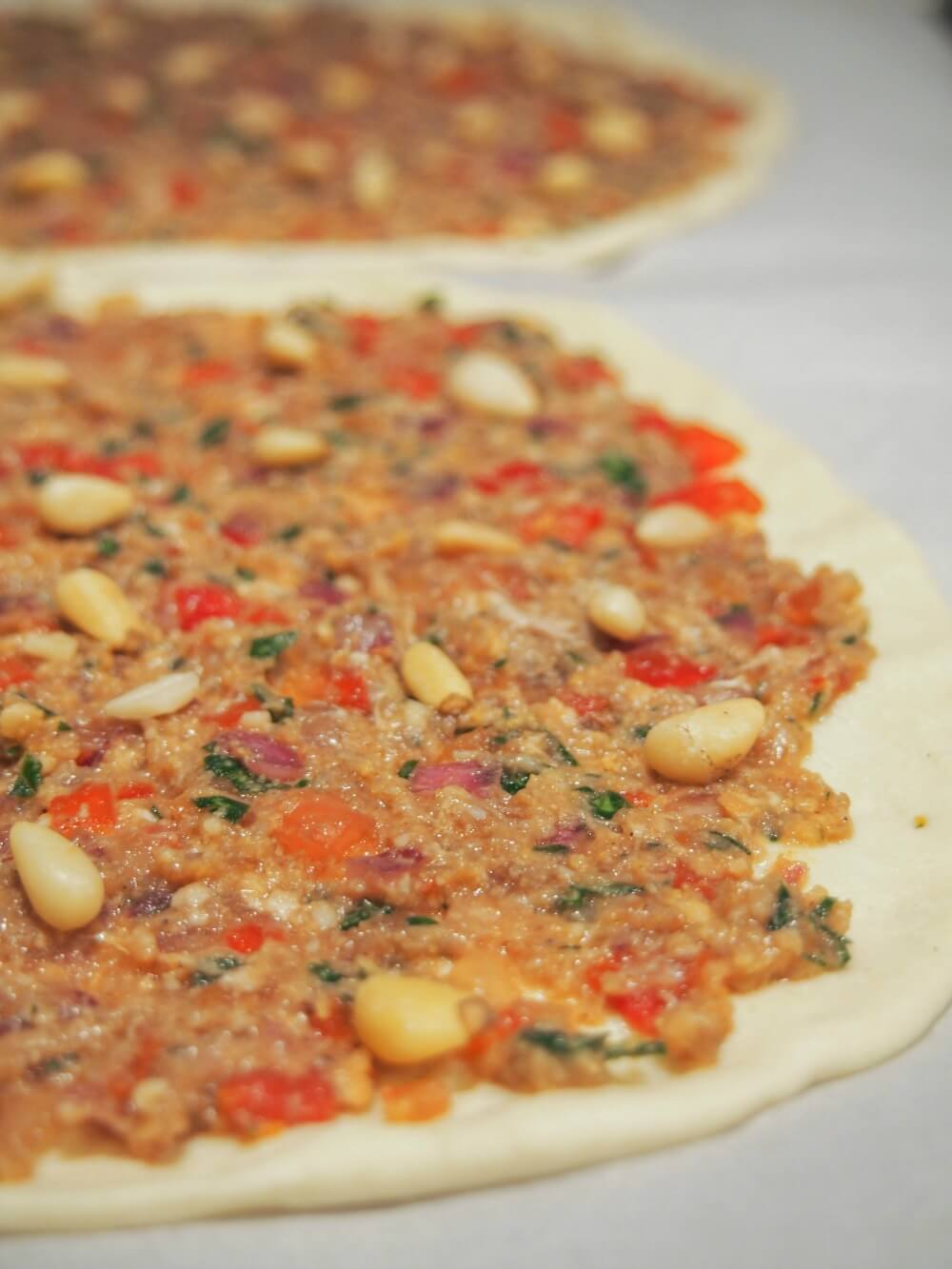 Lahmacun - Turkish flatbread ready to cook