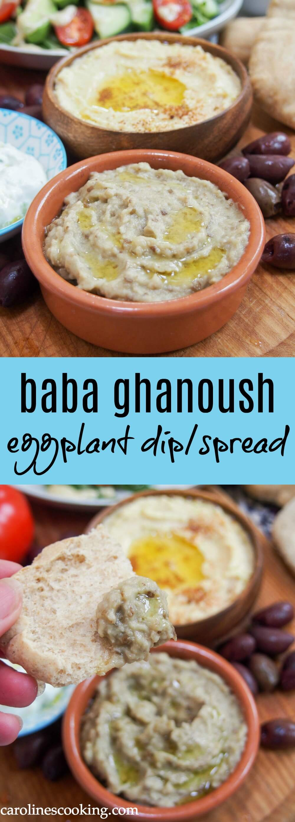 Baba ghanoush (or baba ganoush) is one of many dips/spread that's a staple on mezze plates. This eggplant dip tastes so creamy, with a wonderful smokey flavor, but it's entirely vegan. Easy, versatile and moreishly delicious. #eggplant #mezze #dip #mediterraneanfood #vegan