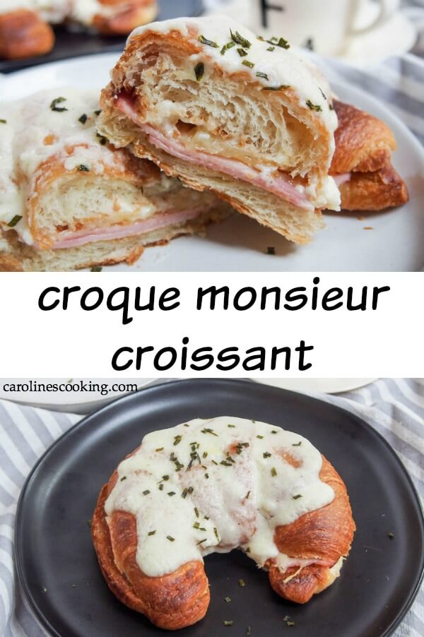 This croque monsieur croissant is the ultimate grilled ham and cheese sandwich. Instead of the usual plain white bread, here it's made in a croissant for a deliciously decadent brunch or lunch.