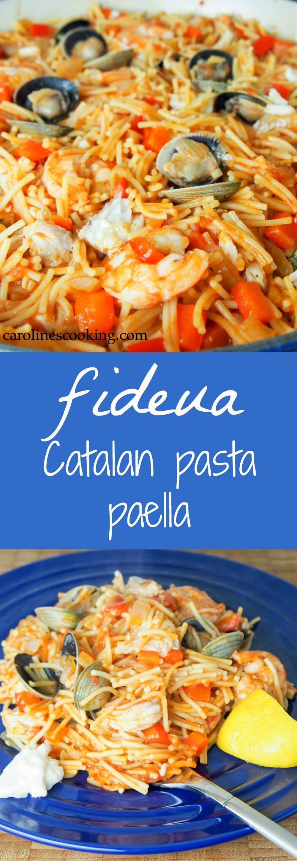 Fideua is a Catalan fish and seafood paella made with short pasta and a tomato-pepper and stock sauce base. Deliciously comforting.