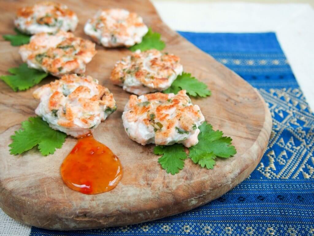 Mildly-Thai salmon cakes (two ways)