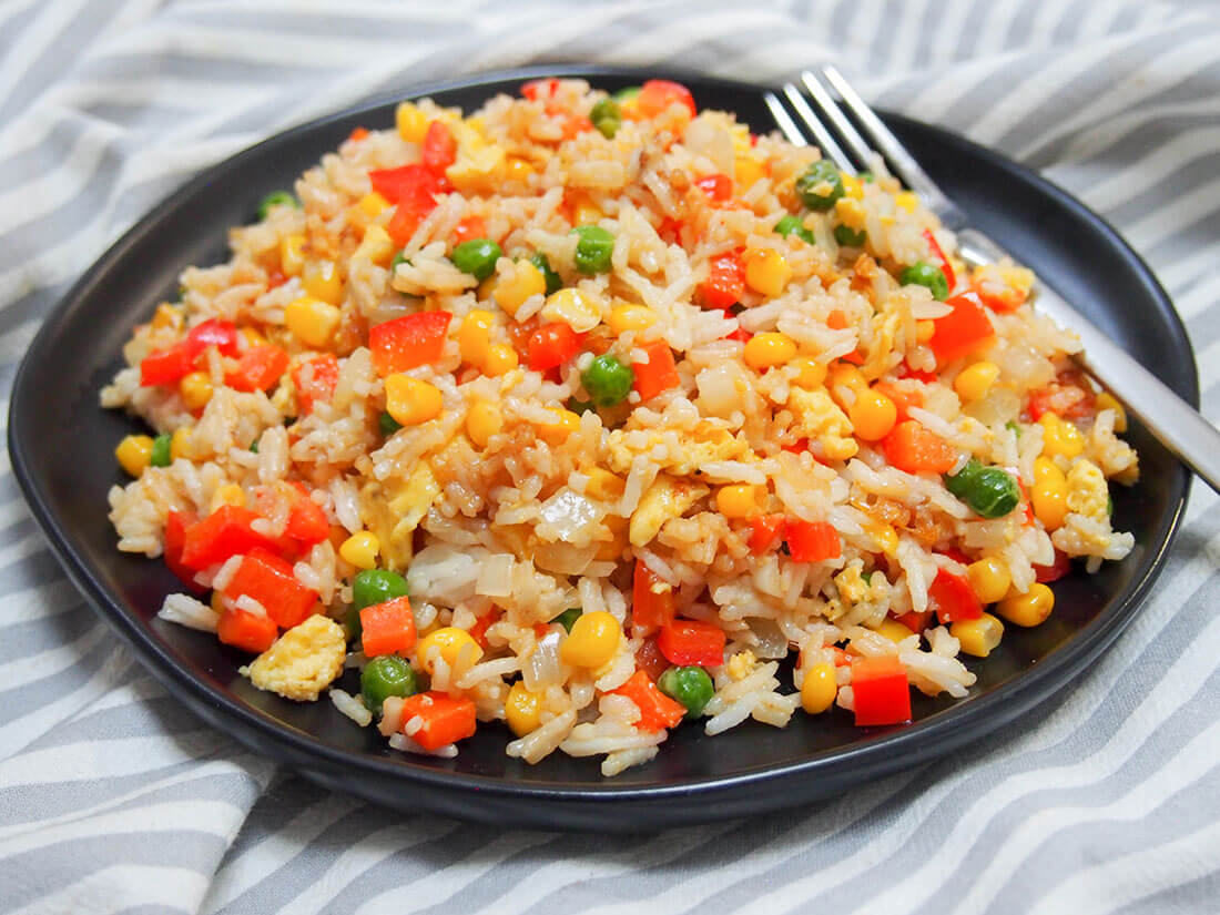 Vegetable Egg Fried Rice Caroline S Cooking