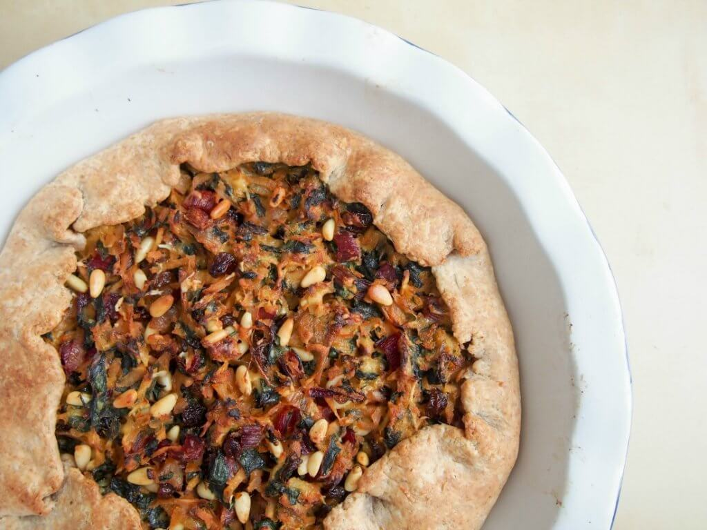 Chard and parsnip galette