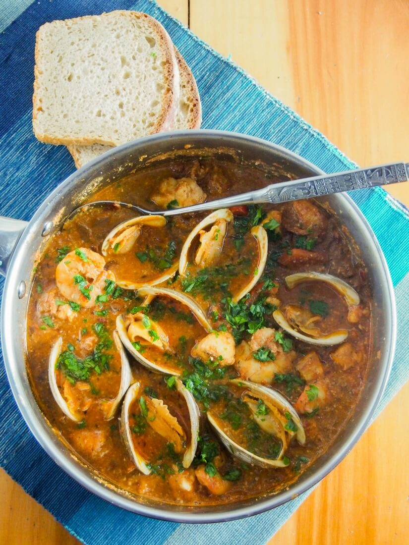 Romesco de peix, Catalan fish stew, is a wonderfully flavorful mix of seafood in a sauce made with almonds, peppers, tomato and garlic. It's comforting without being too heavy. Truly delicious.