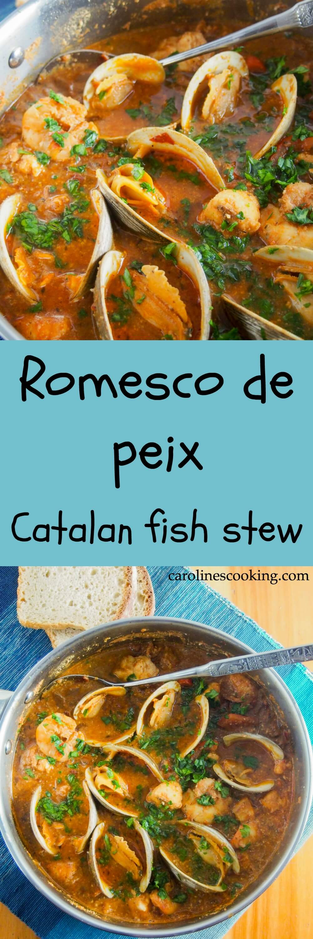 Romesco de peix, Catalan fish stew, is a wonderfully flavorful mix of seafood in a sauce made with almonds, peppers, tomato and garlic. It's comforting without being too heavy. Truly delicious. #seafood #Spanishfood #stew