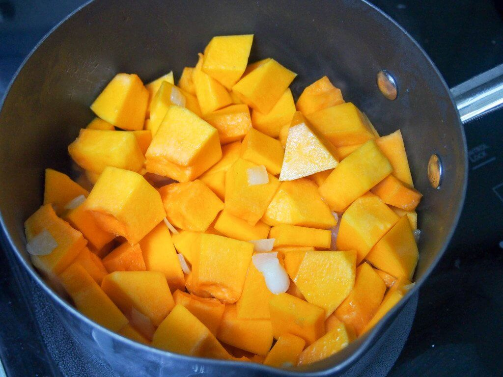 making the easiest lemongrass and squash soup