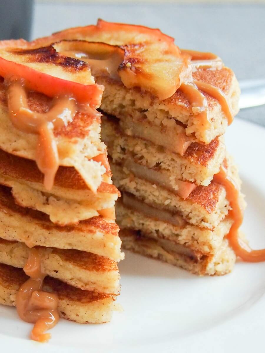 Almond flour pancakes and apple stack (GF with DF option)