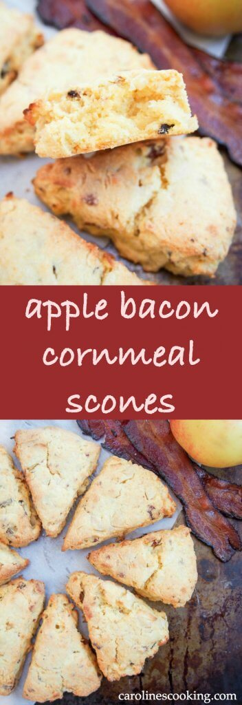 These apple and bacon cornmeal scones are moist and delicious, with a wonderful sweet-savory flavor combination. Such a tasty snack, you'll be back for more. #apple #homemadescones
