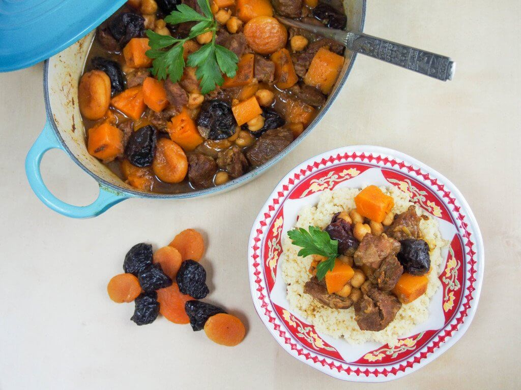 This lamb tagine with apricots, chickpeas and squash is really easy to make, full of fantastic flavors and wonderfully comforting. Great on a cold day too.