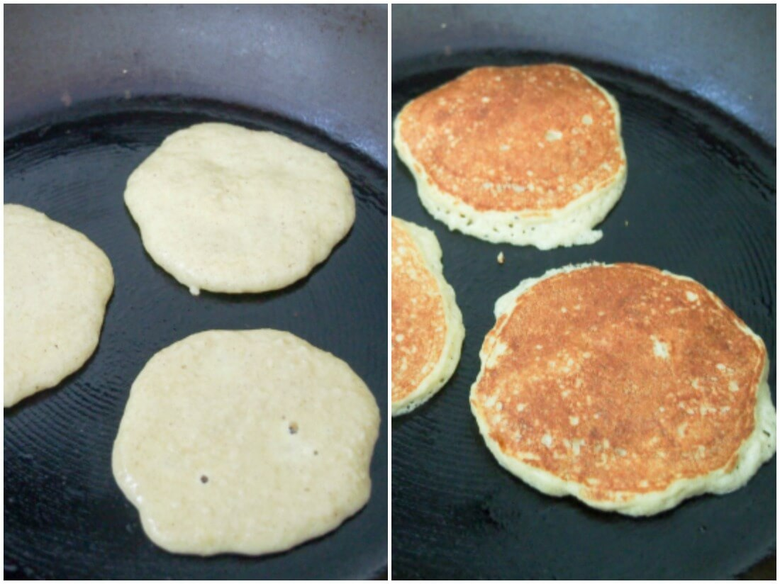 making Almond flour pancakes and apple stack (GF with DF option)