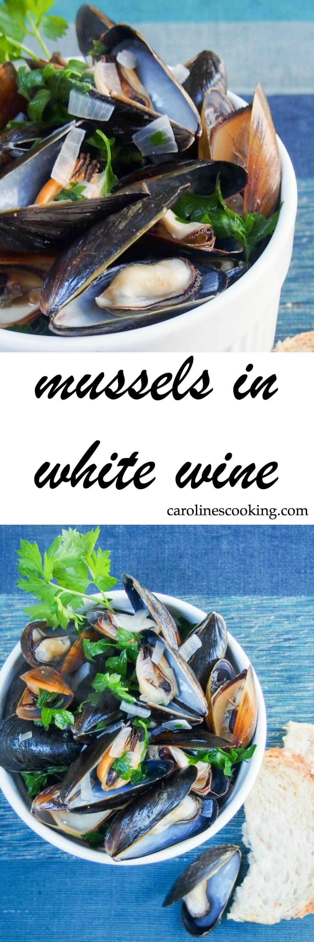 Mussels in white wine is an incredibly simple and easy dish to make, but so delicious. Quick, tasty and one you'll want to make again soon. Easy but feels fancy: perfect for Valentine's day or any time you want something special.